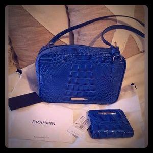 Brahmin blue crossbody and wallet